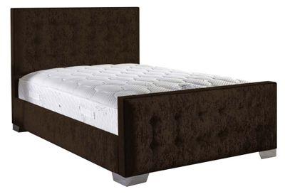 ValuFurniture Delaware Velvet Fabric Bed Set - Chocolate - Single - 3ft