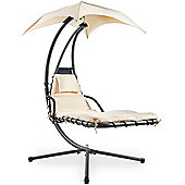 VonHaus Dream Swing Lounger with Canopy – Outdoor Helicopter Hanging Chair with Luxury Cushion and Head Rest