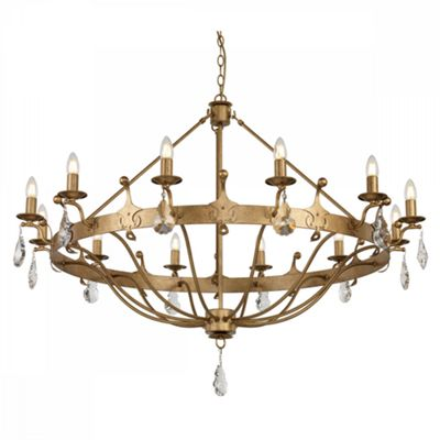 Gold Patina 12lt Chandelier - 12 x 60W E14