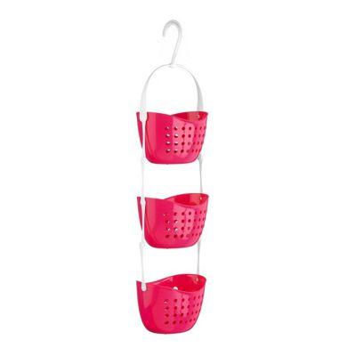 Pink 3 Tier Plastic Shower Caddy Hanging Basket