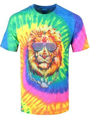 Unorthodox Lion Tie Dye Blue Men's T-shirt