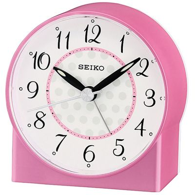 Seiko Sweep Second Hand Beep Alarm Clock - Pink Analog QHE136P