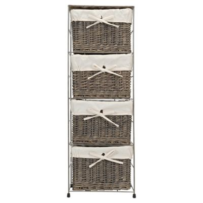Tesco Wicker Fabric Lined 4 Drawer Tower, Grey