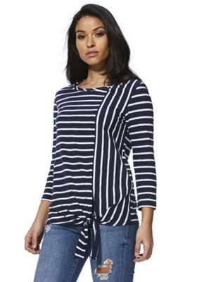 F&F Striped 3/4 Sleeve Knot Front Top Navy/White 22