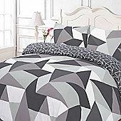 Duvet Cover with Pillow Case Set, Geometric Shapes Black Grey - Black