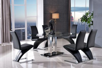 Roma Black Glass and Stainless Steel Frame 150 cm Dining Table with 4 Black Zed Chairs