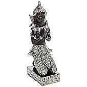 Buddha - Thai Praying Buddha Decorative Ornament - Black / Silver