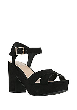 F&F Chunky Platform Heeled Sandals - Black