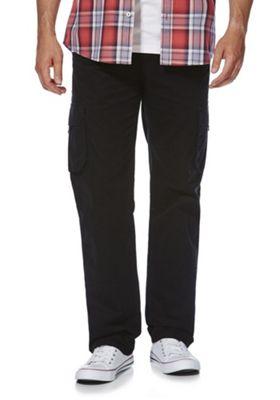 F&F Loose Fit Cargo Trousers Black 48 Waist 32 Leg