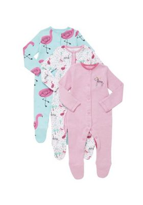 F&F 3 Pack of Zebra and Flamingo Print Sleepsuits Pink Multi 0-1 months