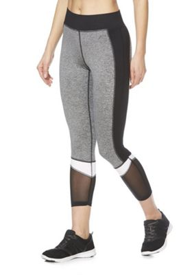 F&F Active Colour Block Cropped Leggings Grey XS