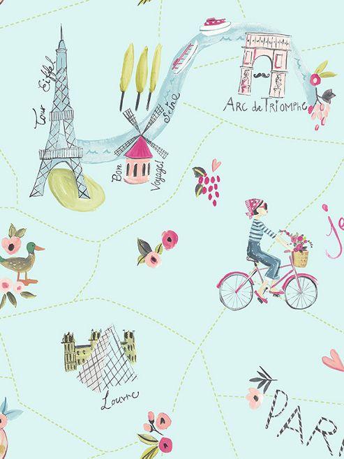Paris With Love Wallpaper Duck Egg Arthouse 696104