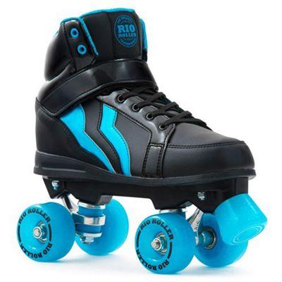 Rio Roller Kicks Quad Roller Skates - Black/Blue UK 4