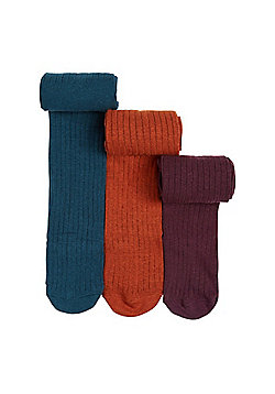 F&F 3 Pair Pack of Supersoft Rib Knit Tights - Multi