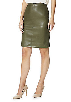 Vila Faux Leather Skirt - Green