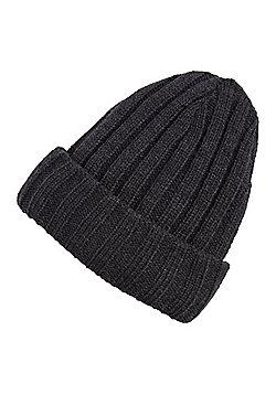 "F&F Ribbed Knit Beanie Hat with Thinsulate""™ - Grey"