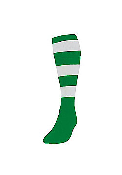 Precision Training Club Weight Stretch Nylon Hooped Football Socks - Green & White