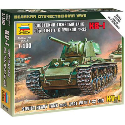 ZVESDA 6190 Soviet Heavy Tank KV-1 1941 with F-32 Gun 1:100 Snap Fit Model Kit