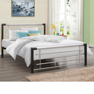Happy Beds Faro Metal High Foot End Bed with Memory Foam Mattress - Black and Silver - 4ft Small Double