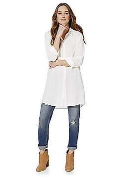 Jacqueline de Yong Lakita Long Line Shirt - Cream
