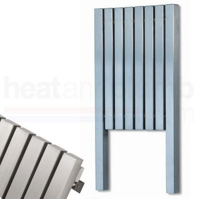 Aeon Talus Brushed Matt Stainless Steel Designer Vertical Radiator 1800mm High x 290mm Wide Including Feet