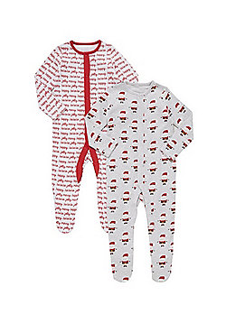 F&F 2 Pack of Christmas Sleepsuits - Red & Grey