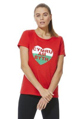 F&F Active Cymru Am Byth Graphic T-Shirt Red 18
