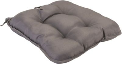 Grey Quilted Style Seat Pad Cushion With Ties
