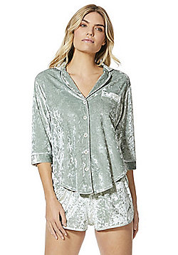 F&F Revere Collar Crushed Velvet Pyjama Set - Green