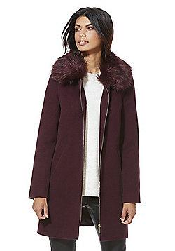 F&F Faux Fur Trim Zip-Through Dolly Coat - Burgundy