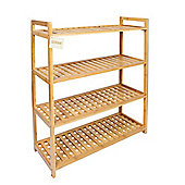 Woodluv 4 Tier Natural Bamboo Shoe Rack