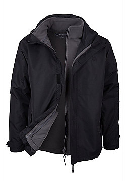 men s coats men s clothes outerwear tesco mountain warehouse fell mens 3 in 1 water resistant jacket electric blue