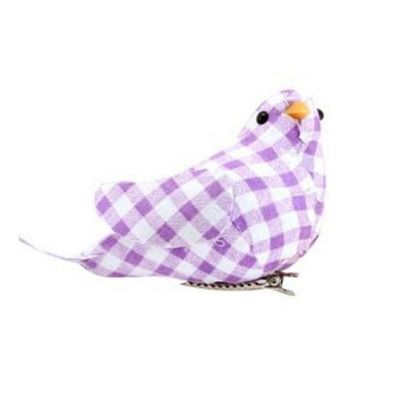 Gingham Clip On Easter Bird-Lilac