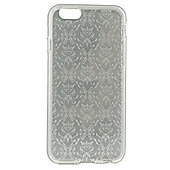 Tortoise™ Soft Protective Case, iPhone 6/6S.Clear with Silver Damask Print