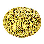 EHC Braided Hand Knitted Round Foot Stool Pouffe, Ochre