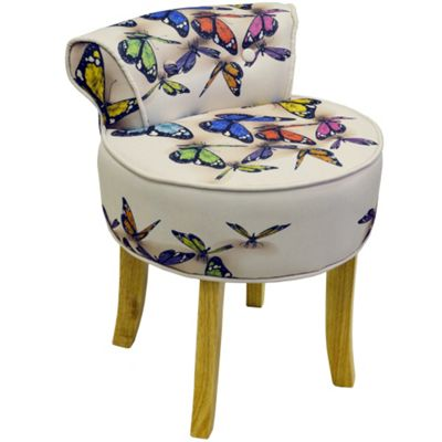 Butterfly - Stool / Low Back Chair With Wood Legs - Cream / Multi