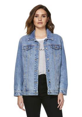 F&F Oversized Denim Jacket Mid Wash 18