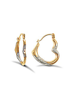 9ct Yellow And White Gold Heart Creole Earrings