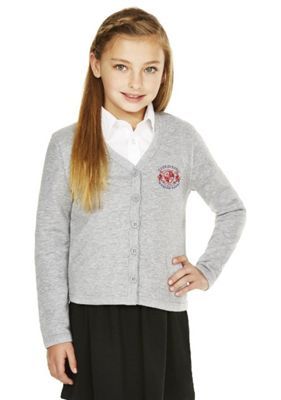 Unisex Embroidered Cotton Blend School Sweatshirt Cardigan with As New Technology 4-5 years Grey