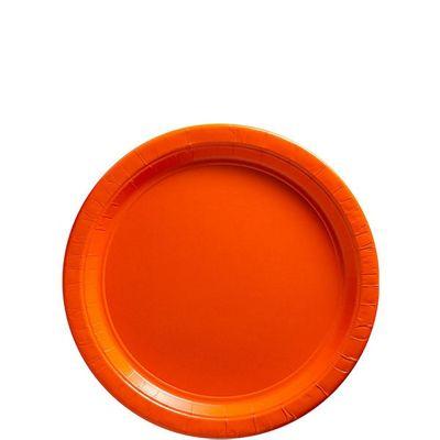 Orange Dessert Plates - 17cm Paper Party Plates, Pack of 20