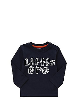 F&F Little Bro Slogan Long Sleeve T-Shirt - Navy