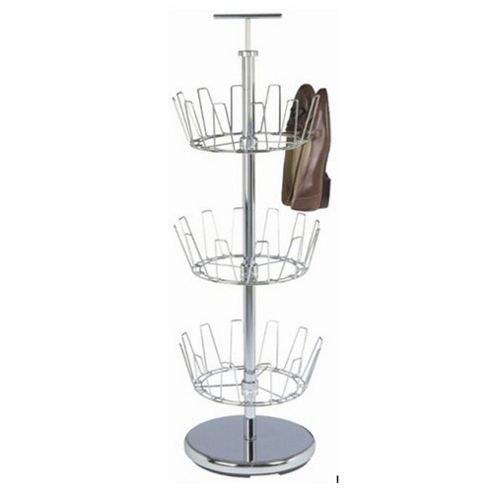 Spinit - Three Tier Revolving 18 Pair Shoe Caddy / Rack - Silver