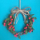 Wool Holly Twig Wreath