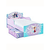 Disney Frozen Toddler Bed With Underbed Storage And Deluxe Foam Mattress
