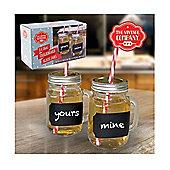 Vintage Company - Chalkboard Glass Mason Jars with Handles Lids Straws - 2 Pack