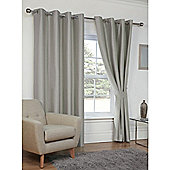 Hamilton McBride Faux Silk Eyelet Blackout Silver Curtains - 90x90 Inches (229x229cm)