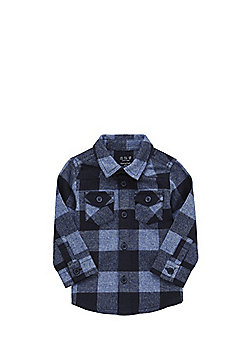 F&F Brushed Checked Shirt - Blue