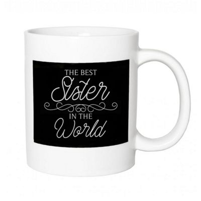 Thoughtful and Original Ceramic 'The Best Sister In The World' Black & White Mug