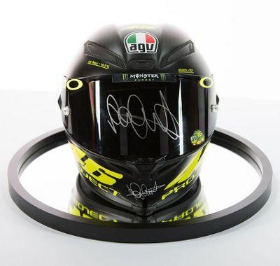 Signed Valentino Rossi Carbon Fibre Pista Helmet - MotoGP Display