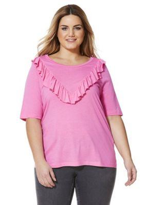 Junarose Frill Trim Plus Size Top 18-20 Pink